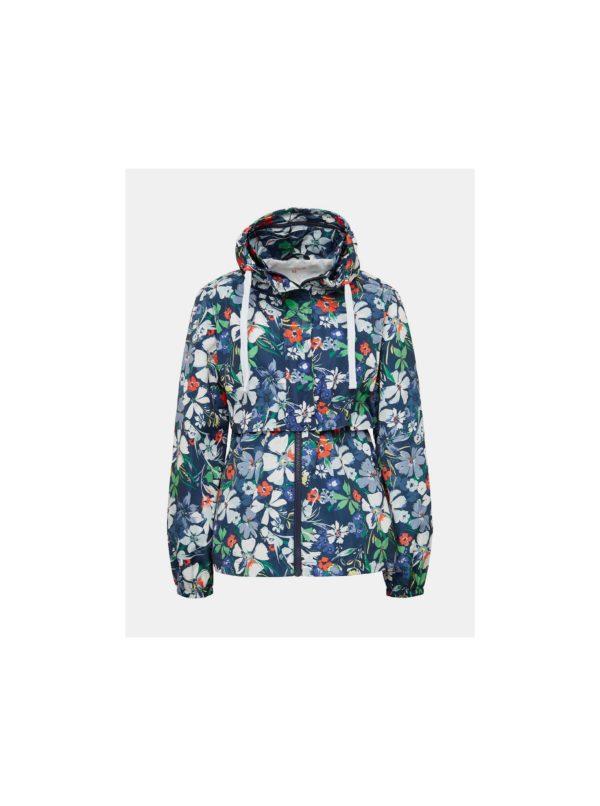 Tmavomodrá dámska kvetovaná bunda Tom Tailor Denim
