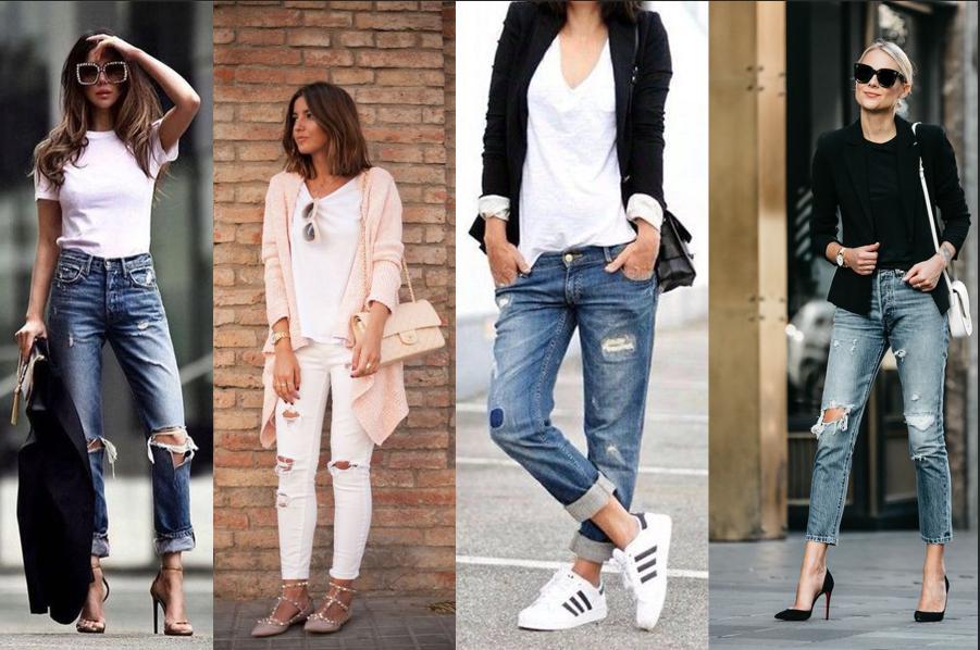 Ukážka štyroch outfitov s roztrhanými džínsami.