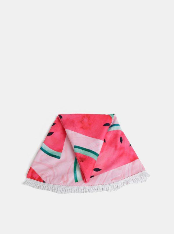 Rúžová kulatá vzorovaná plážová deka Haily´s Watermelon