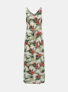 Zeleno-krémové kvetované šaty VERO MODA Lizzy