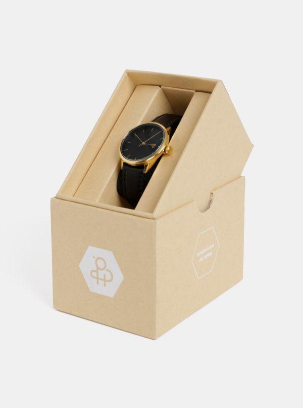 Dámske hodinky s čiernym remienkom z vegánskej kože CHPO Khorshid mini