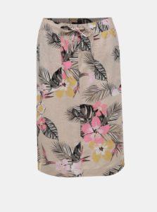 Béžová kvetovaná ľanová sukňa M&Co