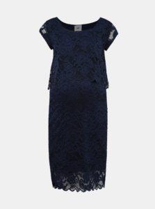 Tmavomodré krajkové tehotenské šaty vhodné na dojčenie Mama.licious Mivane