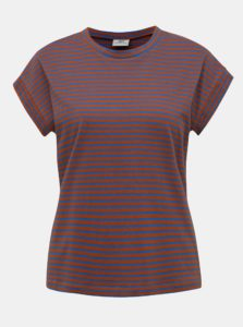 Modro-hnedé pruhované tričko Jacqueline de Yong Ditte