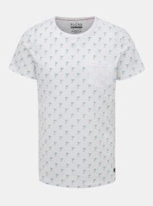 Biele vzorované tričko s náprsným vreckom Blend