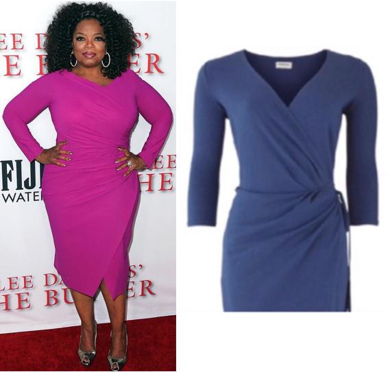 Oprah Winfrey v zavinovacích magentových šatách