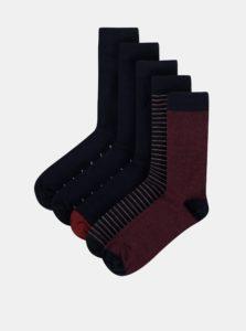 Balenie piatich párov pánskych ponožiek v tmavomodrej farbe M&Co