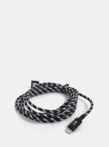 Čierny dlhý kábel na iPhone Design Letters Hey