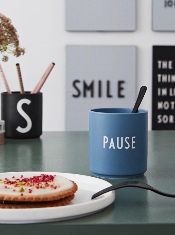 Modrá porcelánová dóza Design Letters Pause 300 ml