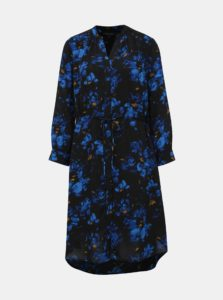 Tmavomodré kvetované košeľové šaty Selected Femme Damina