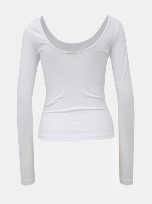 Biele basic tričko s dlhým rukávom Noisy May Kerry