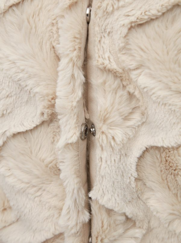 Krémový krátky kabát z umelej kožušiny VERO MODA Curl