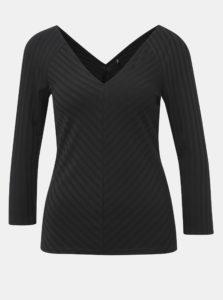 Čierne rebrované tričko ONLY Gina