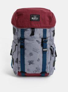 Červeno-šedý vzorovaný batoh Meatfly Scintilla 30 l