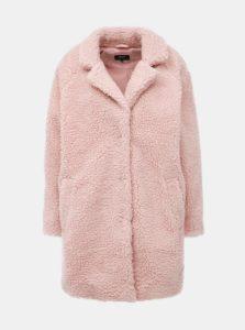 Svetloružový kabát z umelej kožušiny ONLY Aurelia
