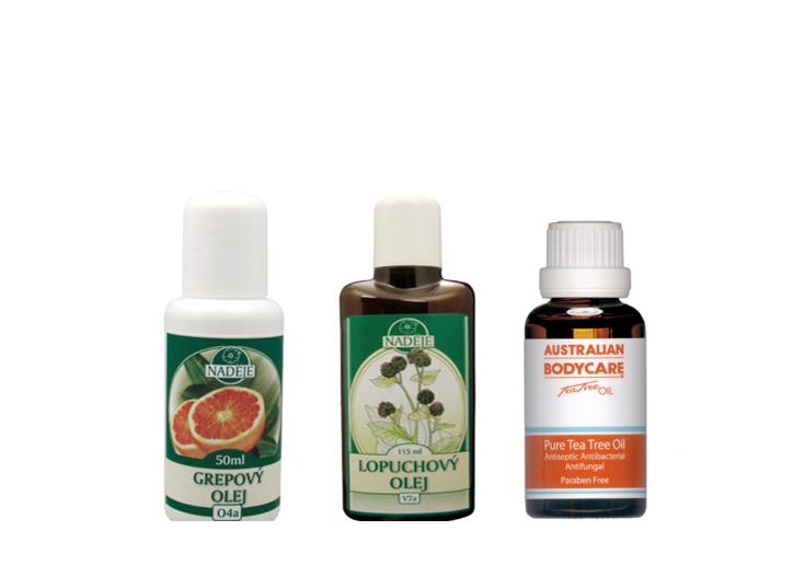 Tri fľaštičky účinných prírodných olejov