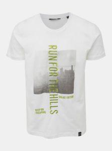 Biele tričko s potlačou a výšivkou Shine Original Hollywood