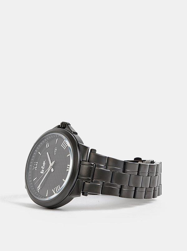 Pánske hodinky s čiernym kovovým remienkom Lee Cooper