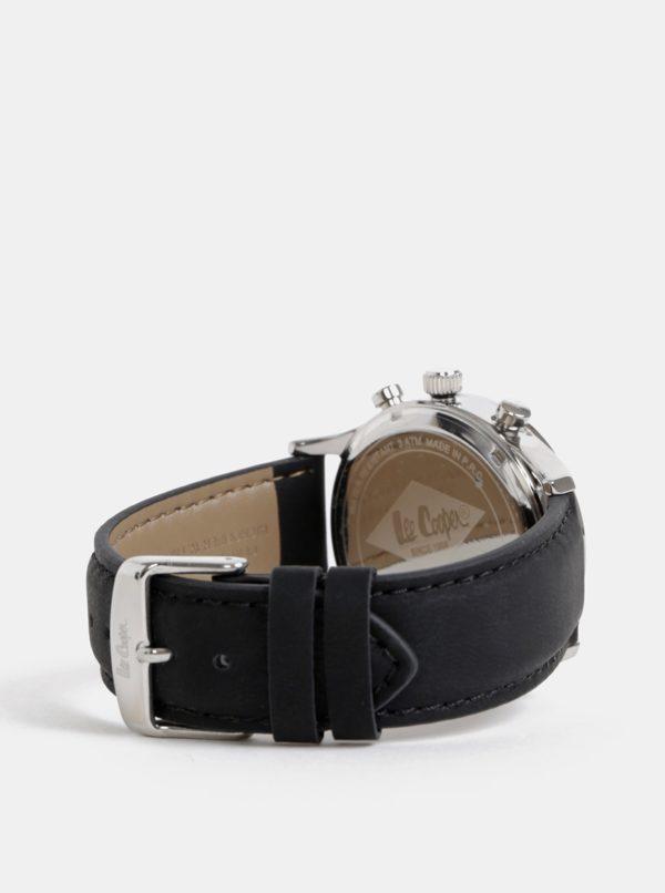 Pánske hodinky s čiernym koženým remienkom Lee Cooper