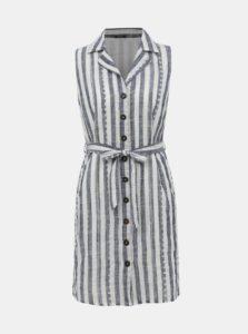 Modro-biele pruhované košeľové šaty s madeirou M&Co Petite Schiffly