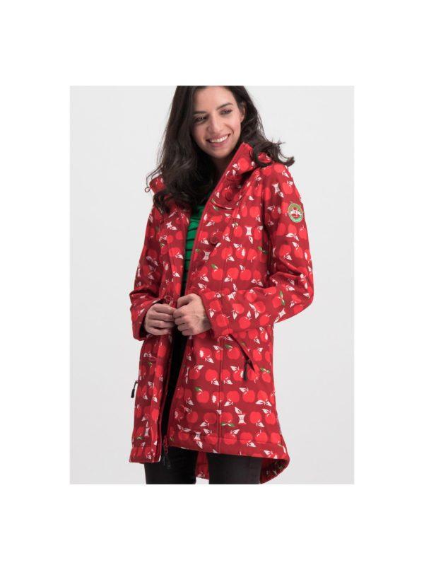 Červený vzorovaný funkčný softshellový kabát Blutsgeschwister Wild Weather