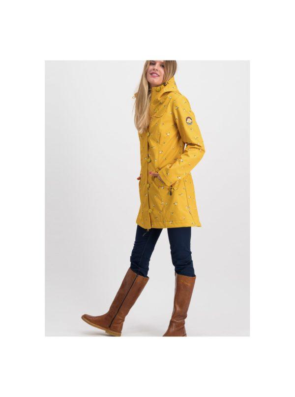 Žltý vzorovaný funkčný softshellový kabát Blutsgeschwister Wild Weather