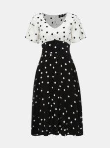 Bielo-čierne bodkované šaty Dolly & Dotty Janice
