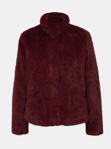 Vínový krátky kabát z umelej kožušiny ONLY Vida