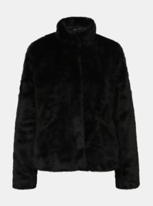 Čierny krátky kabát z umelej kožušiny ONLY Vida
