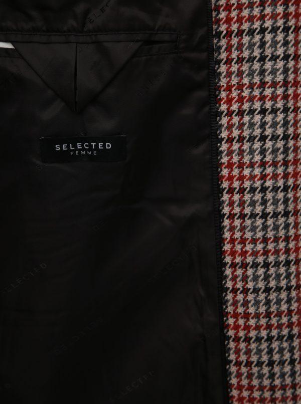 Béžový vzorovaný vlnený kabát Selected Femme Sasja