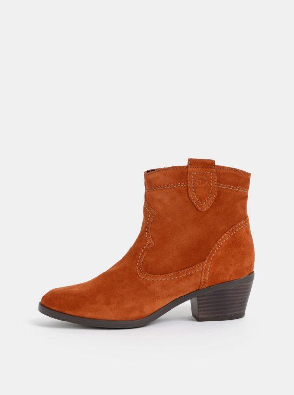 Hnedé semišové kotníkové topánky Tamaris