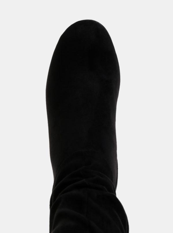 Čierne nízke čizmy v semišovej úprave Tamaris