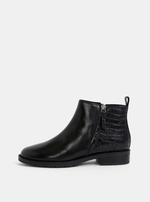 Čierne dámske kožené kotníkové topánky s krokodýlím vzorom Geox Bettanie