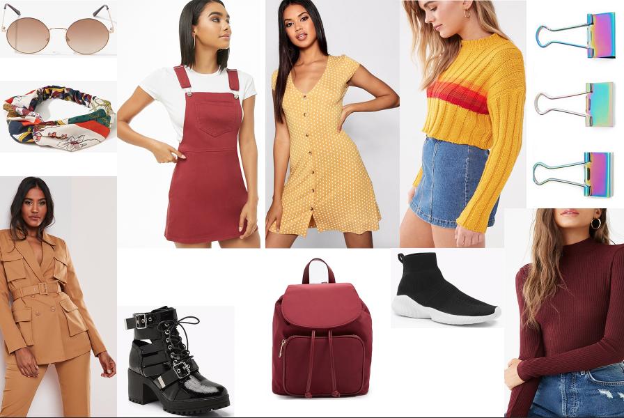 Ukážka rôznych outfitov v teplých jesenných farbách.