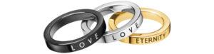 Dámske  Prsten 3 ks Calvin Klein -  čierna zlatá strieborná