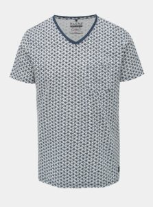 Modro-biele vzorované tričko s vreckom Blend