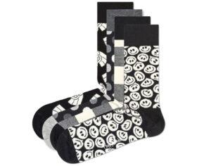 Pánske  Black & White Ponožky 4 páry Happy Socks -  čierna biela