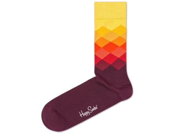Pánske  Faded Diamond 2012 Ponožky Happy Socks -  červená žltá oranžová