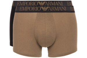 Pánske  Boxerky 2 ks Emporio Armani -  čierna hnedá