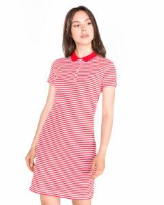 Dámske  New Chiara Polo Šaty Tommy Hilfiger -  červená biela