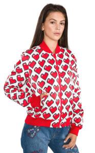 Dámske  Bunda Love Moschino -  červená biela