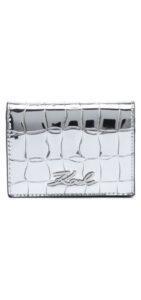 Dámske  Signature Croco Mini Peňaženka Karl Lagerfeld -  strieborná