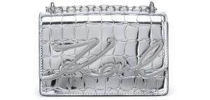 Dámske  Signature Croco Small Kabelka Karl Lagerfeld -  šedá strieborná