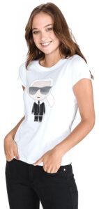 Dámske  Ikonik Tričko Karl Lagerfeld -  biela