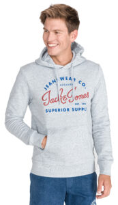 Pánske  Logo Mikina Jack & Jones -  šedá