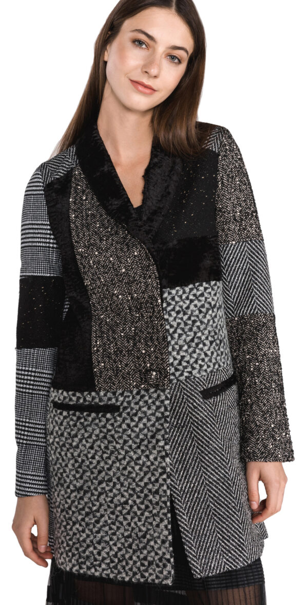 Dámske  Merlon Kabát Desigual -  čierna šedá