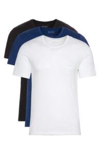 Pánske  Spodné tričko 3 ks BOSS Hugo Boss -  čierna modrá biela