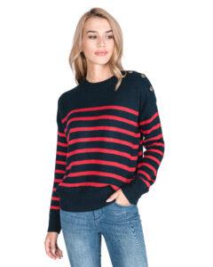 Dámske  Bretona Sveter Pepe Jeans -  modrá červená