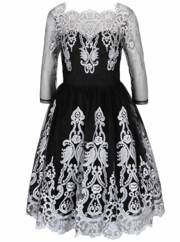 Čierne šaty s tylovou sukňou a čipkou v striebornej farbe Chi Chi London