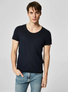 Tmavomodré pruhované basic tričko Selected Homme New merce